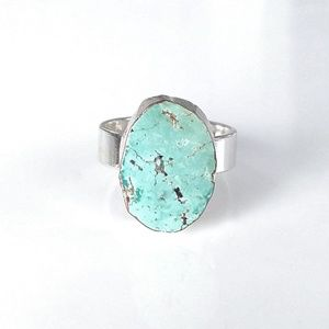 Natural turquoise silver-plated ring